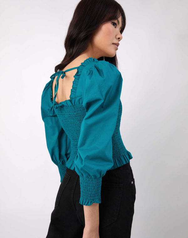 Mia Shirred Green Blouse