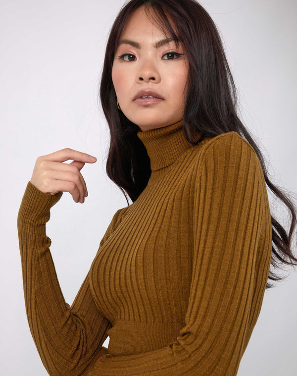 the model holds her hand to her face while wearing the Vlona Olive Turtleneck Ribbed Knit