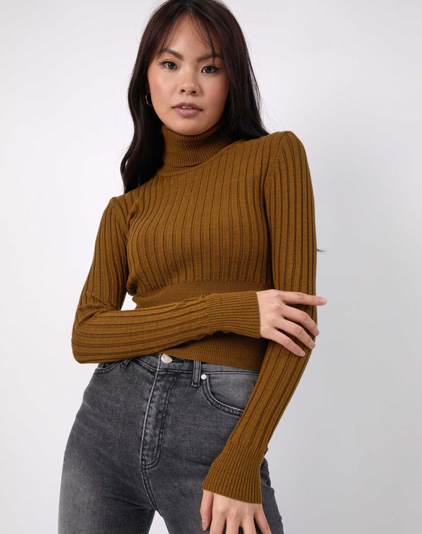 the model hold one of her arms while wearing the Vlona Olive Turtleneck Ribbed Knit with grey jeans