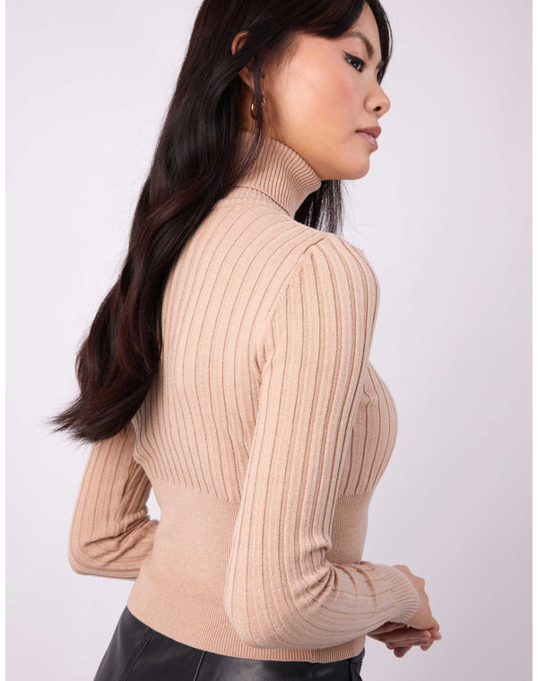 we see the back of the Vlona Beige Turtleneck Ribbed Knit on a model