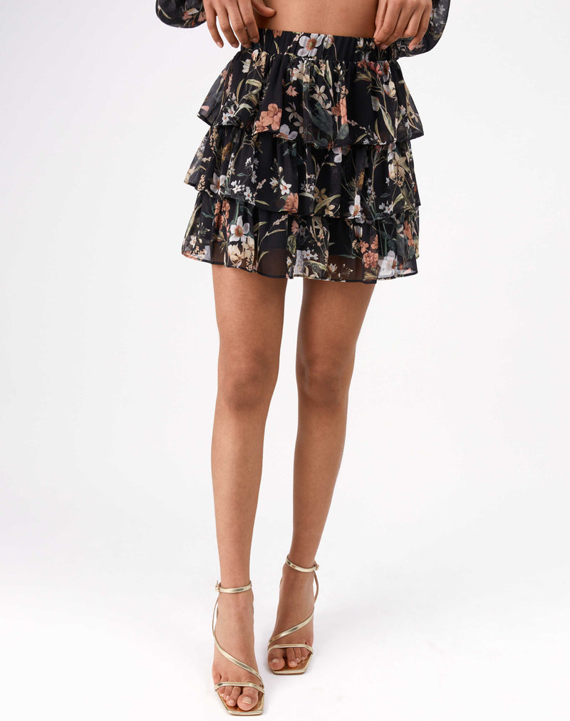 Aurora Tiered Ruffle Skirt in Floral