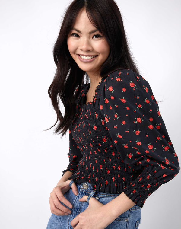 Mia Red Rose Print Shirred Blouse