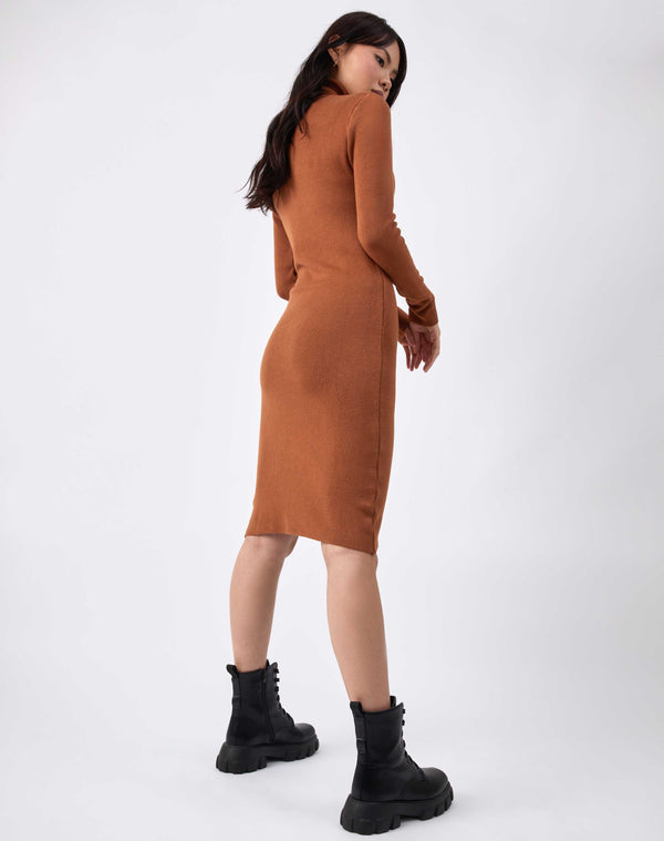 model poses from the back in the liana camel roll neck knit midi dress