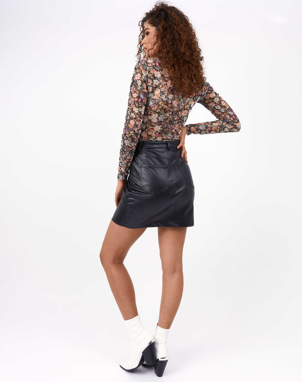 Lily Black Croc PU Mini Skirt