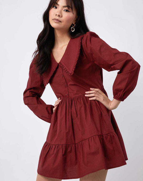 Alice Red Collared Cotton Dress