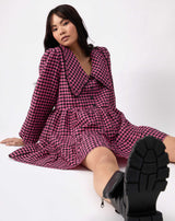 model sitting wearing alice pink check collared dress against white background