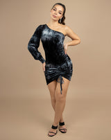 full length image of model wearing jessie one shoulder velour dress in grey and black with ruched front with black heels