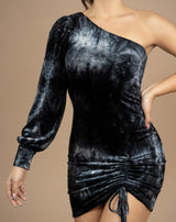 close cropped image of the model wearing the jessie one shoulder velour dress in grey snd black with ruched front