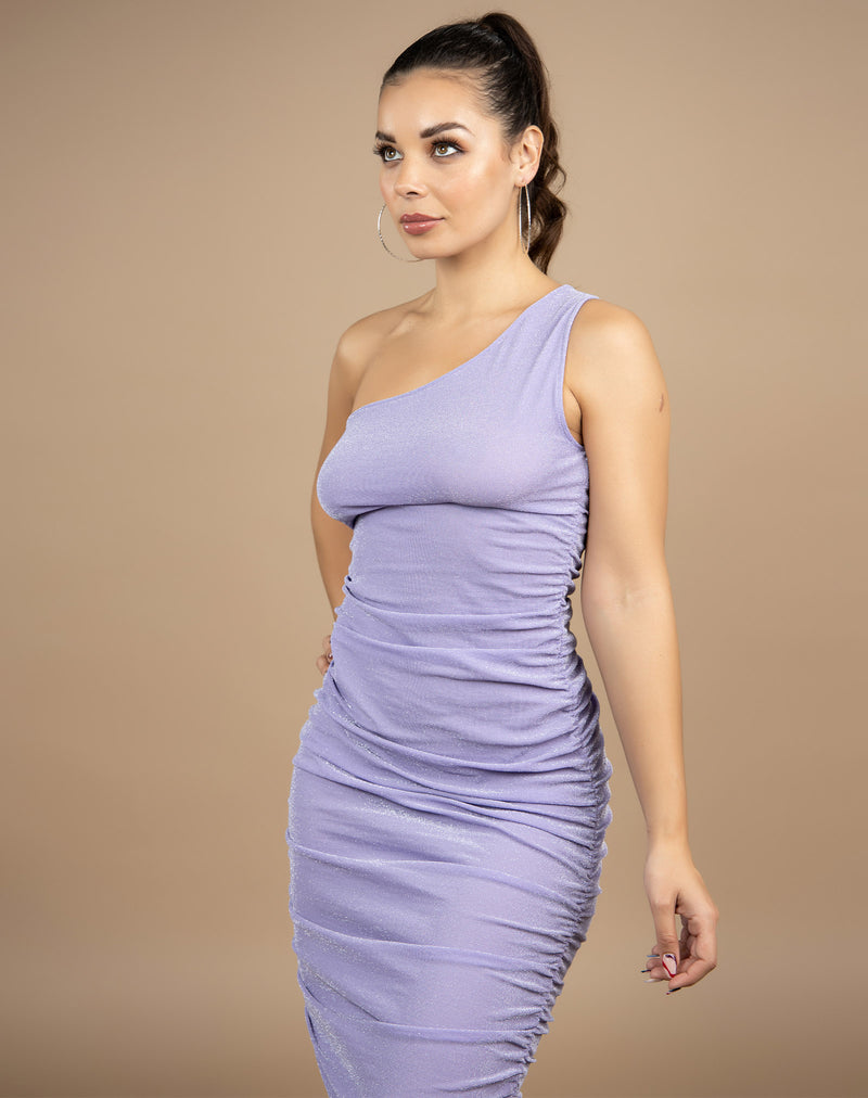 the model looks away from the camera while wearing the Raquel Lilac Ruched Midi Dress