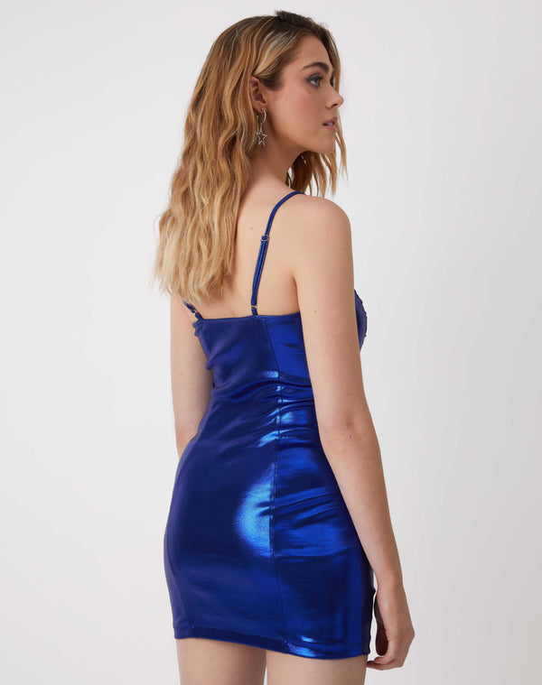 Hailey Ruched Blue Strappy Mini Dress
