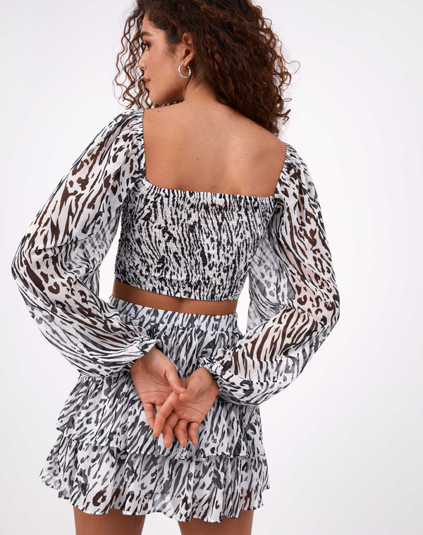 Marina Shirred Animal Print Crop Top