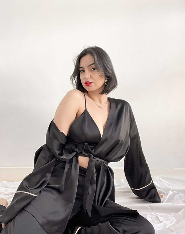 Violet Black Satin Robe