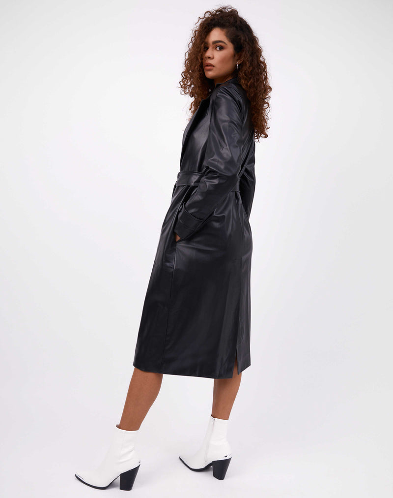 Coco Faux Leather Coat With Belt