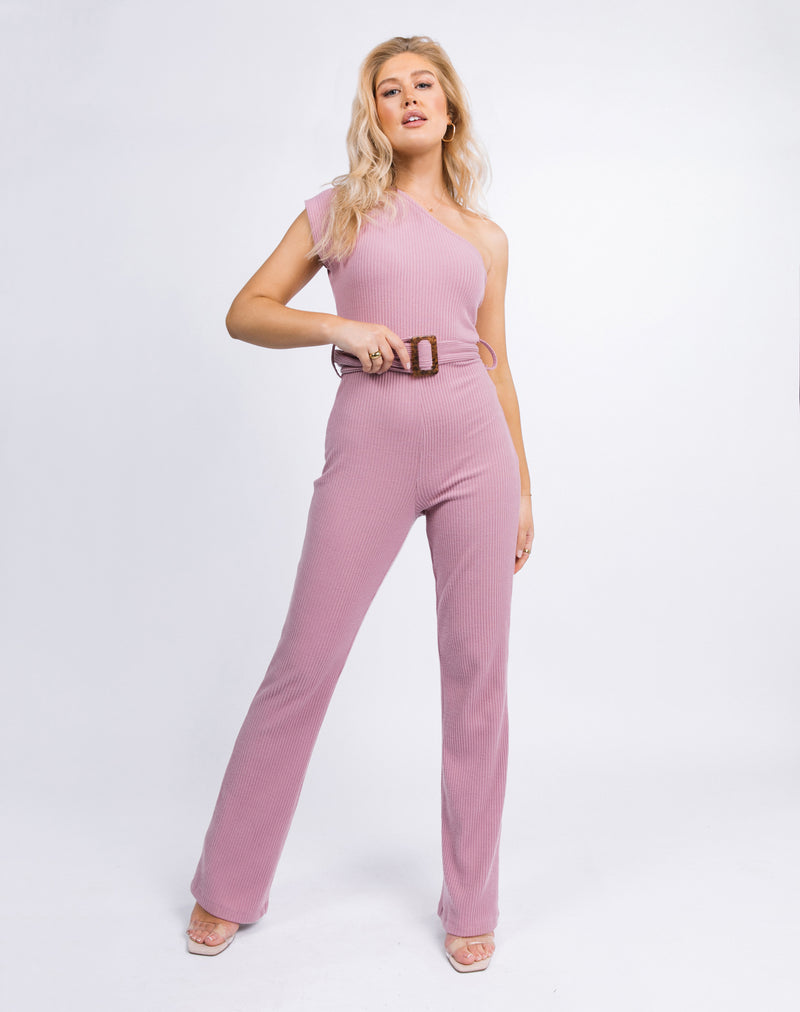 model stand towards the camera wearing the Laura One Shoulder Jumpsuit in Ribbed Blush
