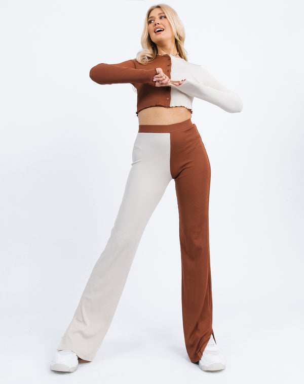 Lana Trousers in Two toned rib