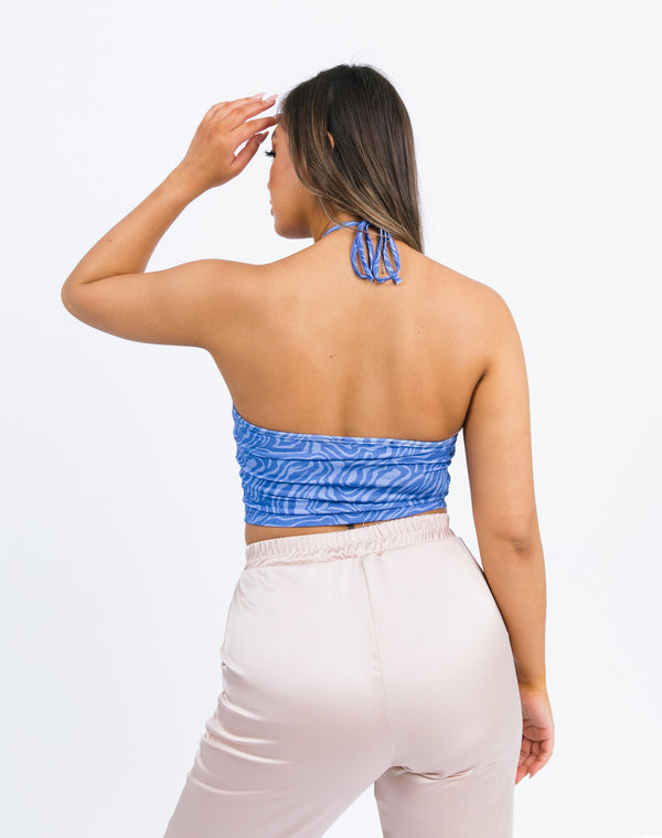 Hera Keyhole crop top in blue zebra