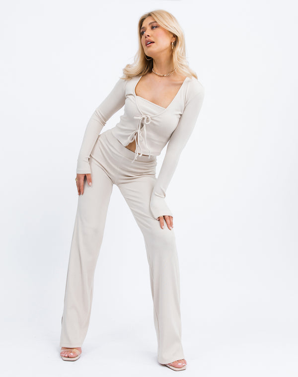 Lana Trousers in Beige rib