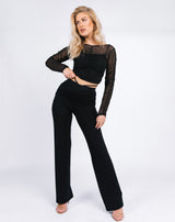 Rita Black Mesh Ruched Top