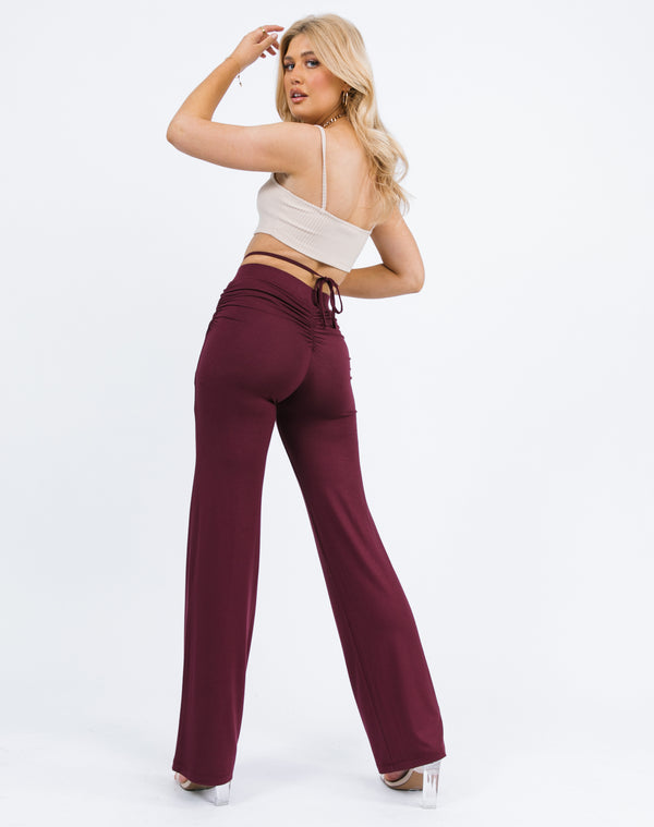 Florence Ruched Back Trousers in Grape