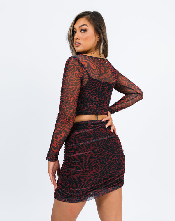 Lea Red Animal Print Mesh Skirt