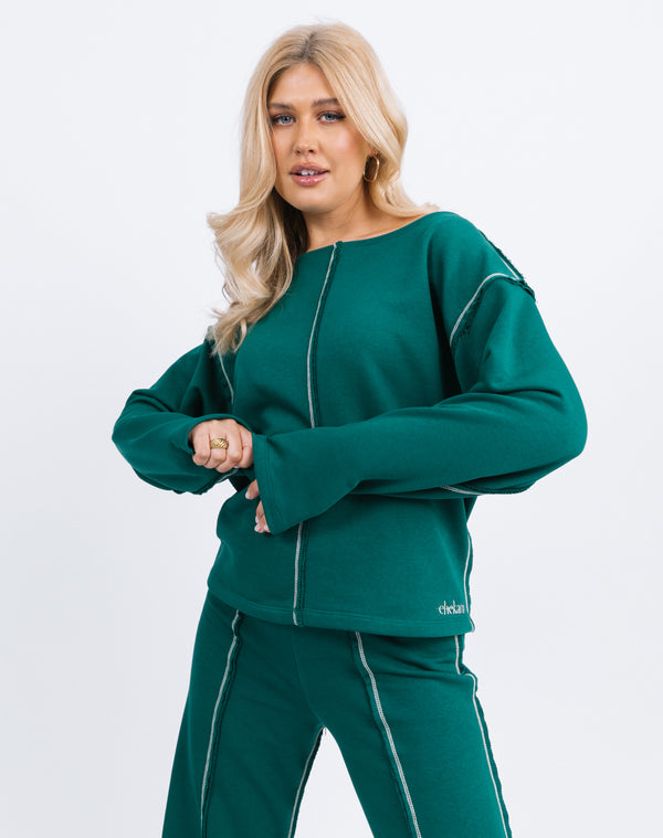 Naz Contrast Stitch Logo Jumper in Forest Green