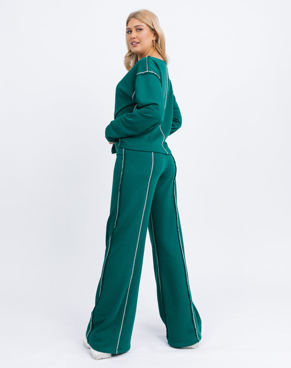 Chantelle Contrast Stitch Logo Trousers in Forest Green