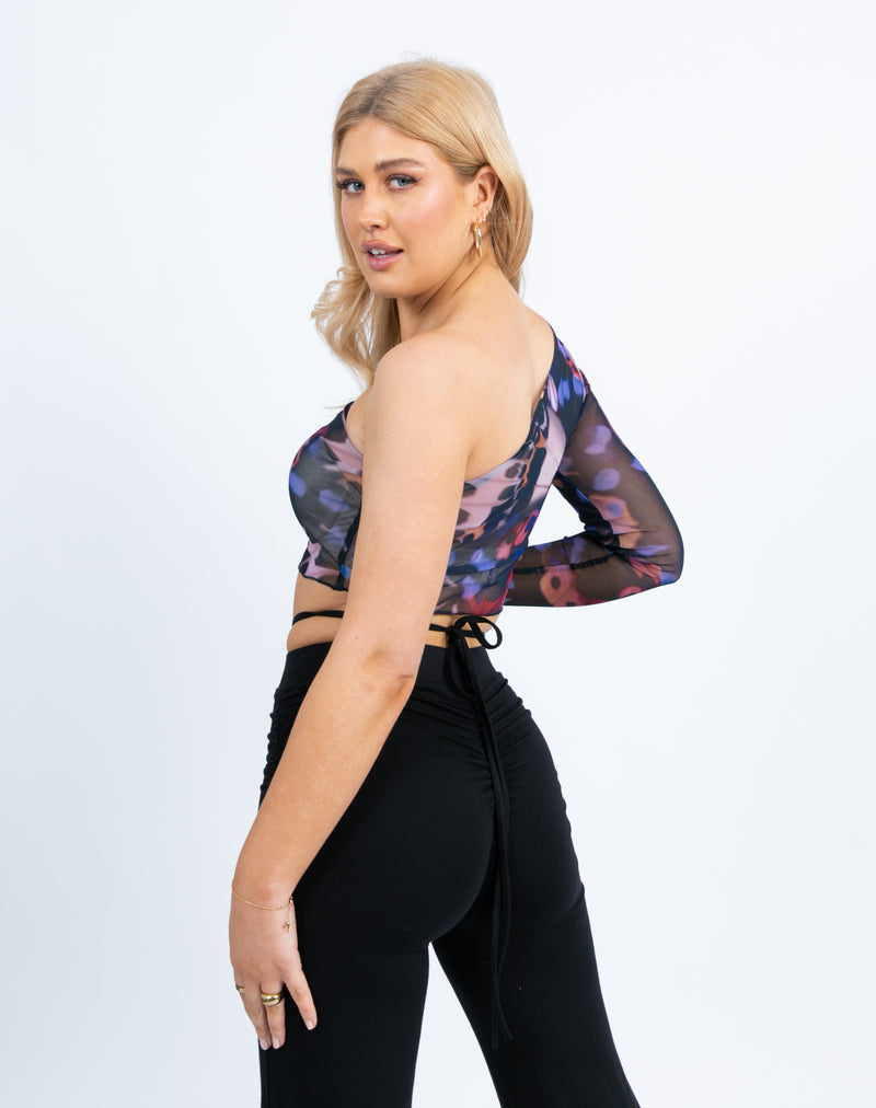 Sky One Shoulder Butterfly Mesh Crop Top