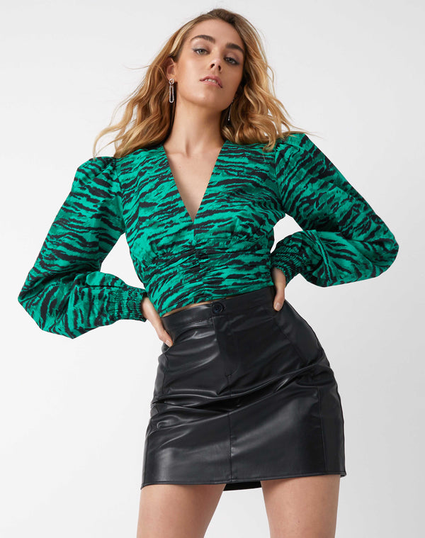 Izzy Green Animal Print Top
