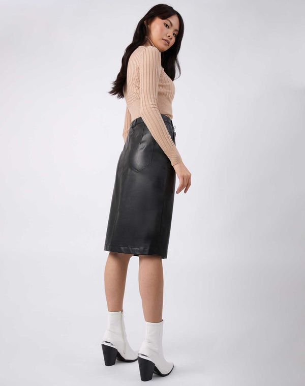 Vita Black PU Midi Skirt With Pockets