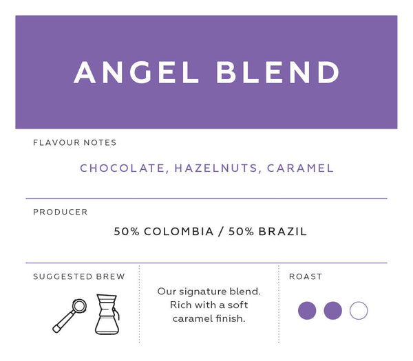 Angel Blend coffee label | Specialist coffee