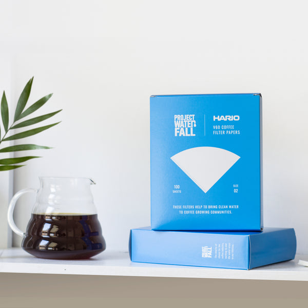 V60 Coffee filter papers next to filter coffee jug