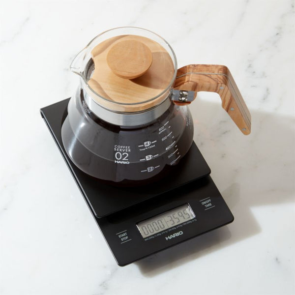 Pot of coffee on Hario V60 Drip Coffee Scales