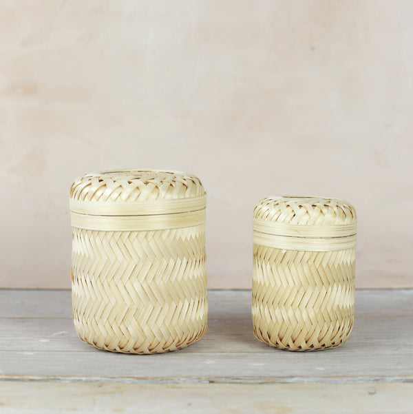 Set of 2 Bamboo Storage Baskets