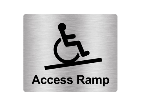 Access Ramp Wheelchair Users, Access, Sign Adhesive Sticker Notice with Universal Icon Symbol and Text (Size 12cm x 10cm)