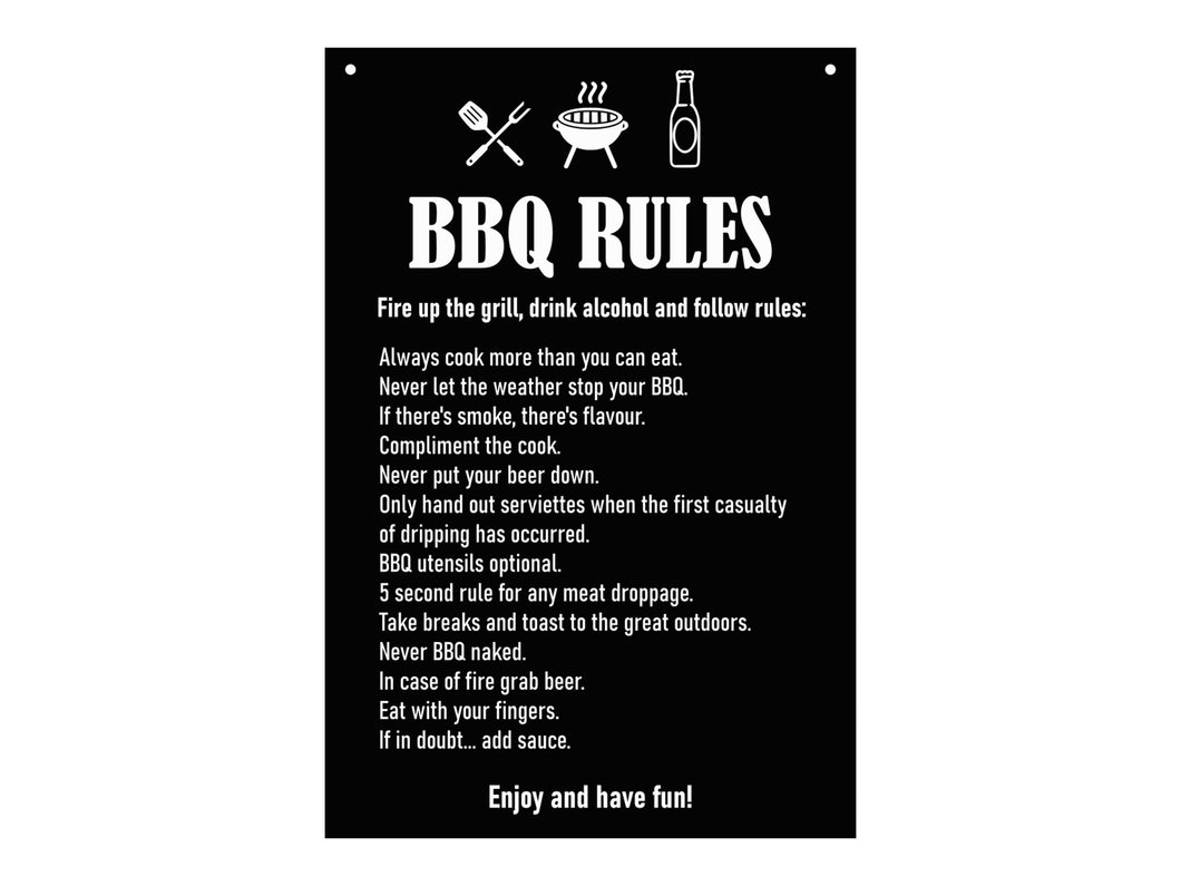 BBQ Rules - Novelty Garden Sign