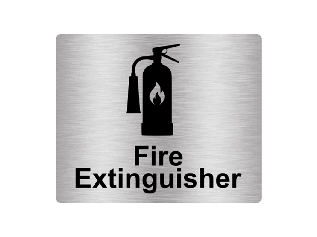 Fire Extinguisher Sign Adhesive Sticker Notice, Metallic Silver Engraved Black with Universal Icon Symbol and Text (Size 12cm x 10cm)