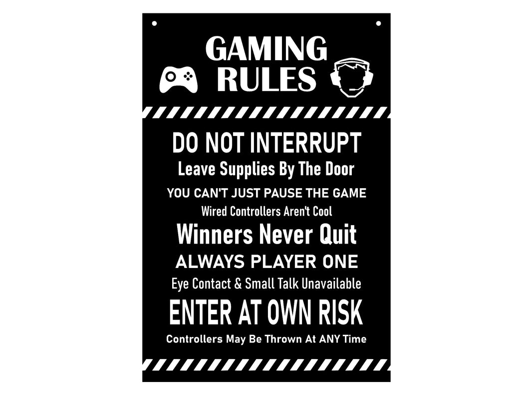 Gaming Rules Sign - Ideal Gift or Present, Yellow / Black or Black and White Acrylic, supplied with black ribbon