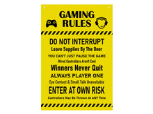 Load image into Gallery viewer, Gaming Rules Sign - Ideal Gift or Present, Yellow / Black or Black and White Acrylic, supplied with black ribbon