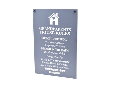 Grandparents House Rules, Novelty Sign - Ideal Gift or Present, Grey and White Acrylic, supplied with black ribbon