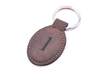 Load image into Gallery viewer, Personalised Leather Key Fobs, Key Rings, Mocha / Dark Brown - Add your text or numbers