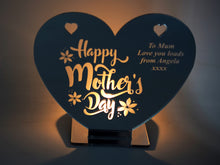 Load image into Gallery viewer, Happy Mothers Day - Heart Shaped Mirrored Tea Light Holder (personalised)