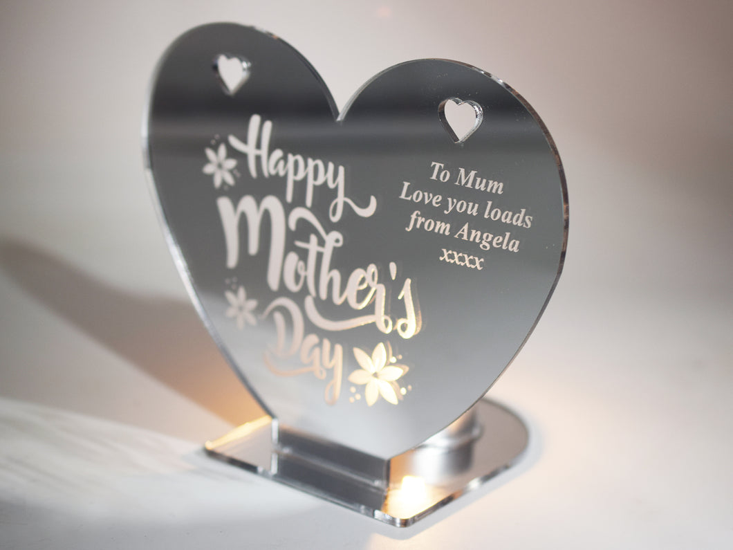 Happy Mothers Day - Heart Shaped Mirrored Tea Light Holder (personalised)