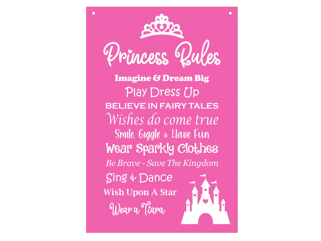 Pink Princess Rules Pink Girls Bedroom Novelty Sign - Ideal Gift or Present, supplied with white ribbon