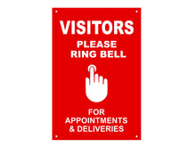 Load image into Gallery viewer, VISITORS Please Ring Bell For Appointments & Deliveries - Entrance Notice Sign