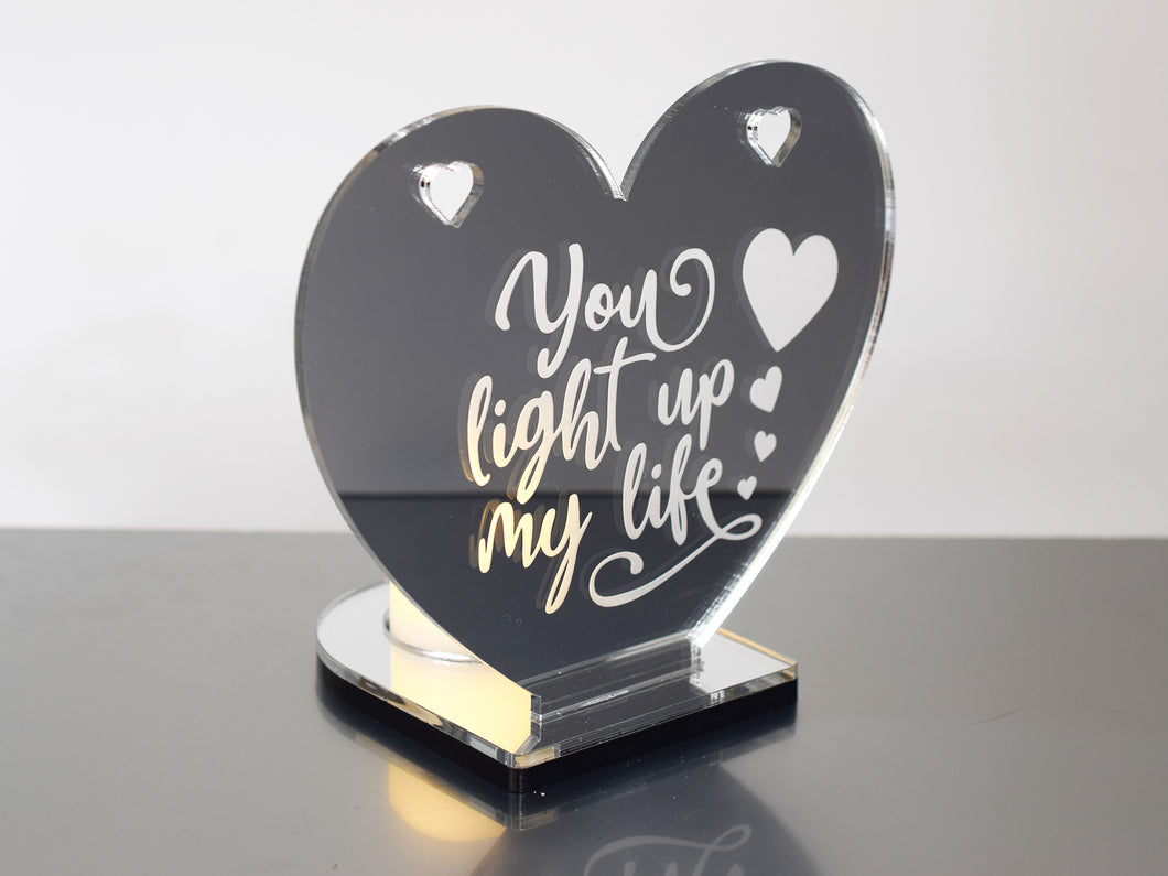 'You Light Up My Life' - Heart Shaped Mirrored Tea Light Holder
