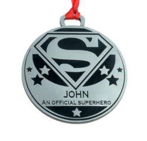 Personalised Superhero Medal - 7cm Diameter, Silver Metallic Finish, for events, workplace, family, celebrations