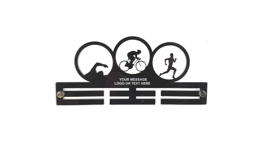 Personalised, Triathlon, Tri, Mens - Acrylic Medal Holder, Hanger, Display