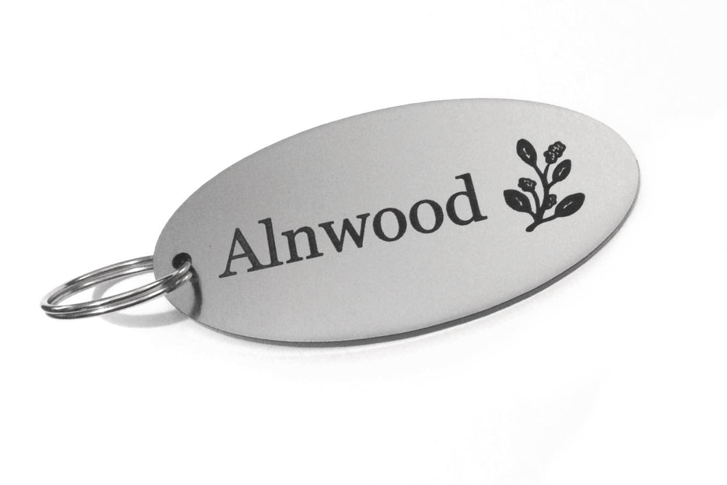 Personalised Key Fobs - SILVER OVAL - Ideal for Hotels, Bed and Breakfast, Guest Houses