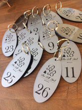 Load image into Gallery viewer, Personalised Key Fobs - SILVER OVAL - Ideal for Hotels, Bed and Breakfast, Guest Houses