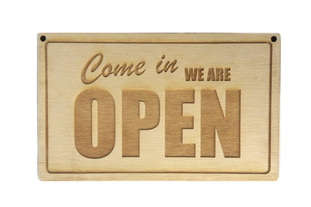 Wooden, Open Closed Sign - hangs on door, in window - Reversible / Double Sided for Shops, Cafes, Restaurants